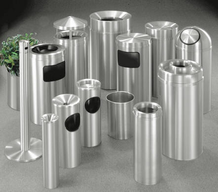Glaro Satin Aluminum Trash Receptacles