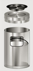 Glaro Ash Tray Top Satin Aluminum Trash Receptacles