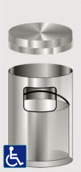 Glaro Flat Top Satin Aluminum Trash Receptacles