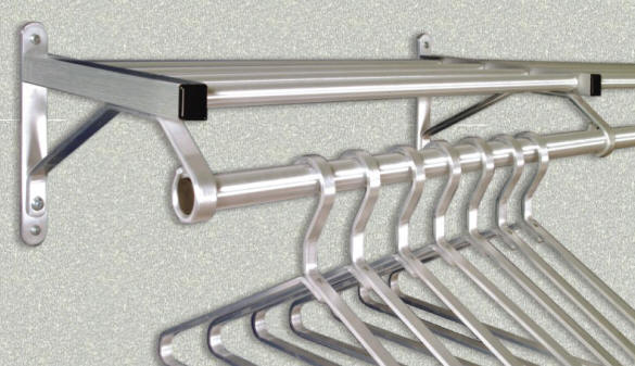 glaro satin aluminum wall mounted coat and clothes racks - Clothes Wall Hanger